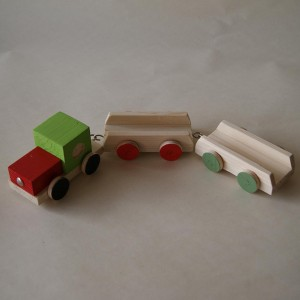 Three pieces wooden train
