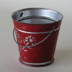 Red Tin Bucket - collectable and decorative item
