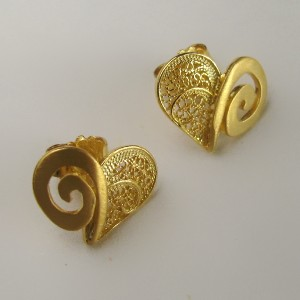 Golden Silver Filigree Earrings