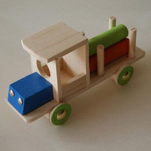 Wooden truck and cylinders