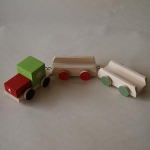 Comboio de três peças em madeira