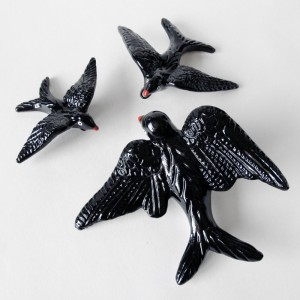 Set of 3 ceramic Swallows