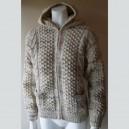 Rebeca de lana de color mezclada con capucha